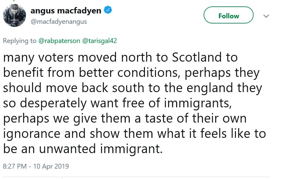 Oh Dear.  A Scottish Actor living in Panama is telling the English to get out of Scotland, if not they should be treated like unwelcome immigrants.  Incredible. <br>http://pic.twitter.com/S8QT4glwx5