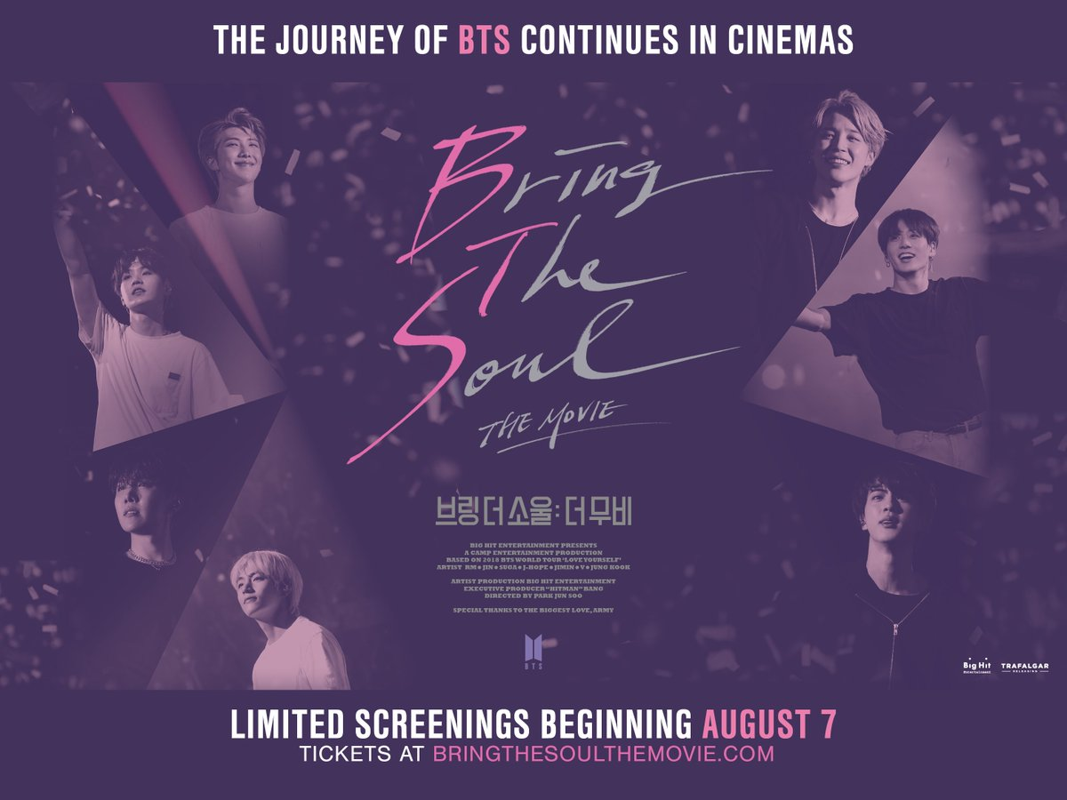 @bts_bighit return to cinemas with BRING THE SOUL: THE MOVIE! Following the latest tour, the group invites us behind the spotlight. Ltd screenings begin Aug 7. Tickets go on sale on Weds July 3 - visit BRINGTHESOULTHEMOVIE.com for more info. #BTS #BRINGTHESOUL_THEMOVIE