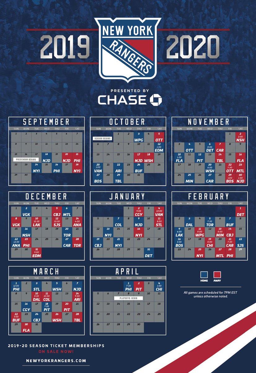 New York Rangers Schedule 2019-20 New York Rangers on Twitter: