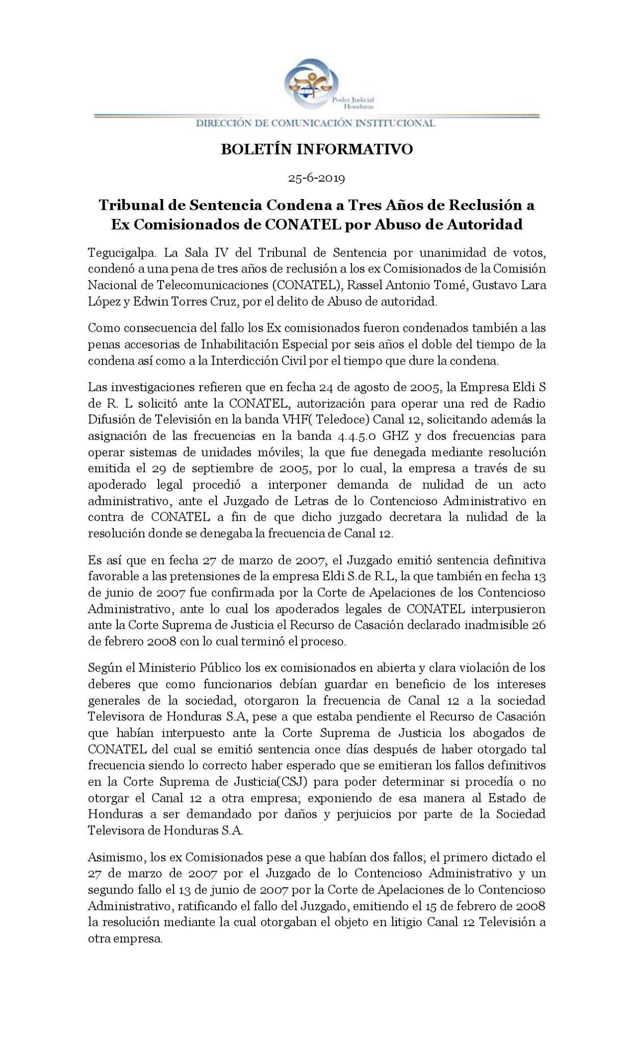Comunicado del Poder Judicial sobre la sentencia de excomisionados de Conatel