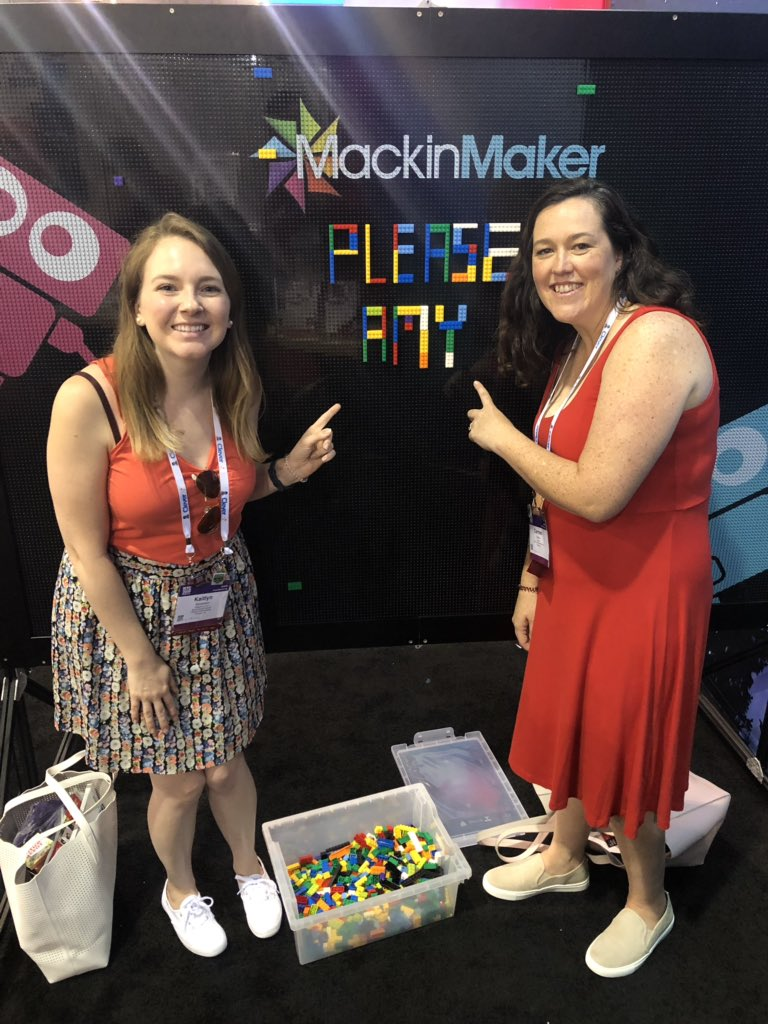 A movable LEGO brick wall... we think it would go great in the Jtown library @JamestownReads! 😄 #ISTE2019