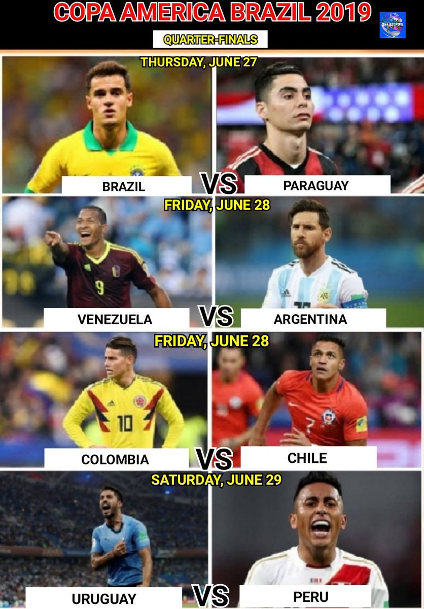 #CopaAmerica  Quarter-Finals Fixtures  Thursday, June 27 Brazil Vs Paraguay  Friday, June 28 Venezuela Vs Argentina Colombia Vs Chile  Saturday, June 29 Uruguay Vs Peru   #CopaAmerica2019 #copaamericabrasil2019 https://t.co/GX7TKa1s68