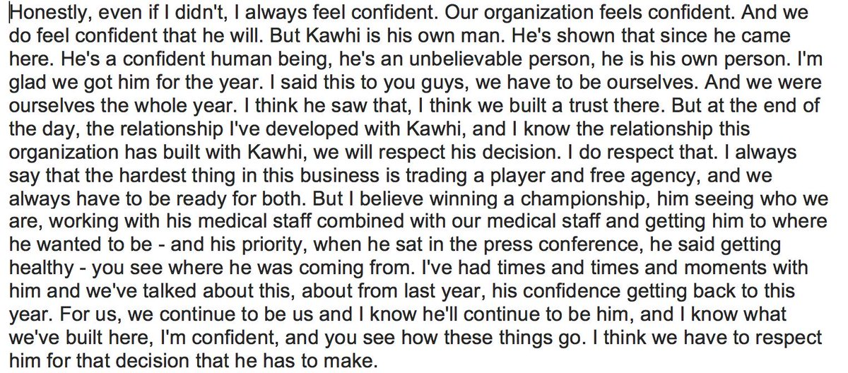Raptors GM Had Lengthy Response When Asked About Kawhi Leonard Today