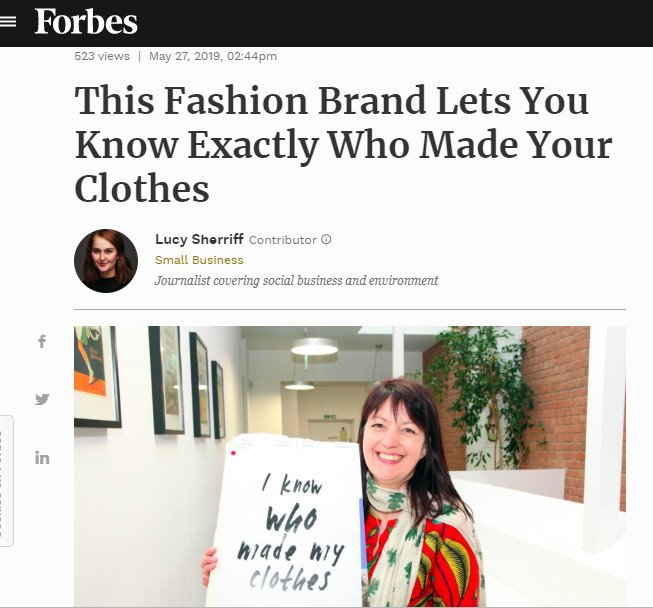 Fantastic to see @WhereDoesItCome in @Forbes talking #transparency #fairtrade and #environment. Our founder @salter_jo talks about our mission to create clothes that are kind to the planet, makers and customer. forbes.com/sites/lucysher… #transparencyistrending #ethicalfashion