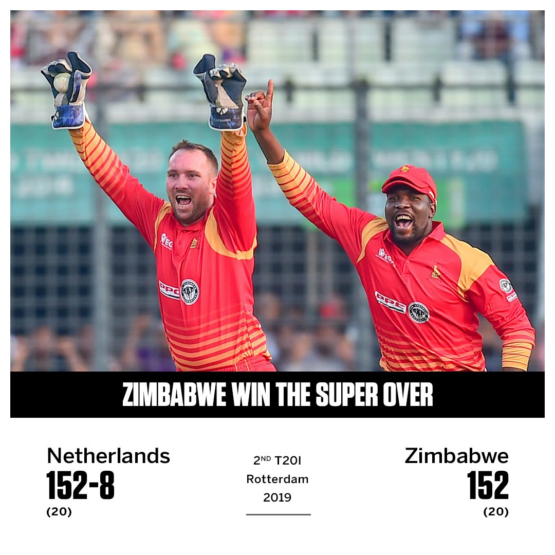 With four balls to go, Zimbabwe needed just 1 to win...  Then... WWW  They made up for it in the Super Over though    http:// es.pn/2YeixLV      #ZIMvNED<br>http://pic.twitter.com/VLp6aw7HXV