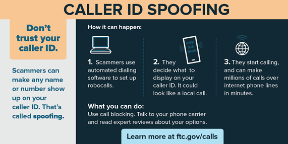 test Twitter Media - Be cautious of numbers on caller ID! Scammers can make any name/number show up.  Ignore calls, send to voicemail, use call blocking apps, or hang up! Report unwanted calls: https://t.co/IOCmKsN1D1 or to @FTC https://t.co/QWBpZMhrq7 #CallSpoofing #StopRobocalls2019 #AZAG https://t.co/4o7PM26MlE