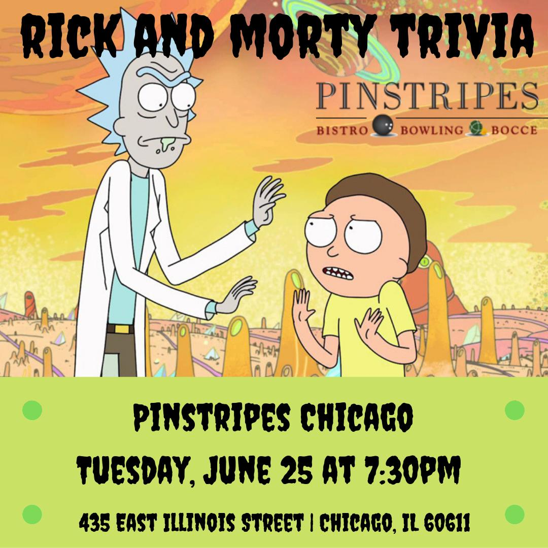 Rick and Morty Trivia TONIGHT at 7:30pm! @pinstripeschicago @pinstripesbbb RSVP: http://ow.ly/J4nu30oXhdB #rickandmorty #rickandmortyseason #rickandmortyforever #morty #ricksanchez #rick #adultswim #rickandmortytrivia #triviatainment