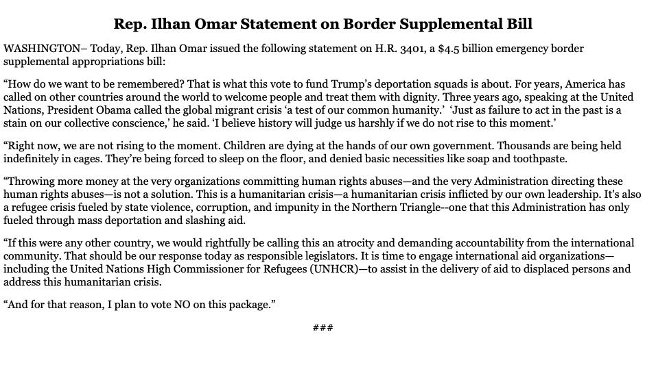Children are dying at the hands of our own government.  If this were any other country, we would rightfully be calling this an atrocity and demanding accountability from the international community.  That is why I plan to vote NO on the bill to fund Trump's deportation squads.