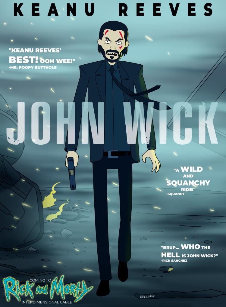 Coming to #RickAndMorty Interdimensional Cable, @mrkreeves @JohnWickMovie ! Because I really love drawing mashup in different cartoon styles! @_danharmon @JustinRoiland @adultswim #JohnWick #adultswim #cartoon #mashup #fanart