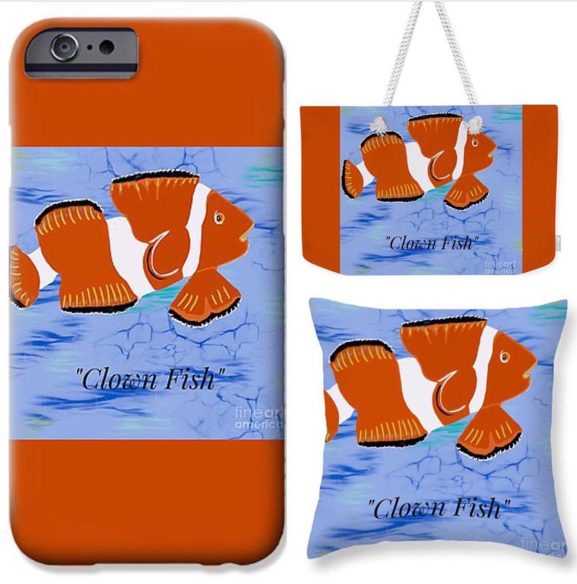 #ClownFish by Susan Garren On Pixels  https://susan-garren.pixels.com/featured/clown-fish-illustration-susan-garren.html…  #IllustrationGallery ♥️ #GiftIdeas🎁  #ToteBag #iPhoneCase #TravelItems #WearableArt #Design