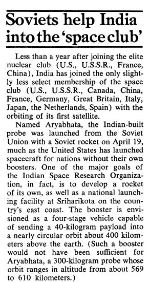 In fact, barely after an year of #India conducting Smiling Buddha tests — when much of the Western opinion to India's Rise had turned adverse — the now erstwhile #SovietUnion assisted India in sending its first satellite into space by granting launching rockets and facilities.