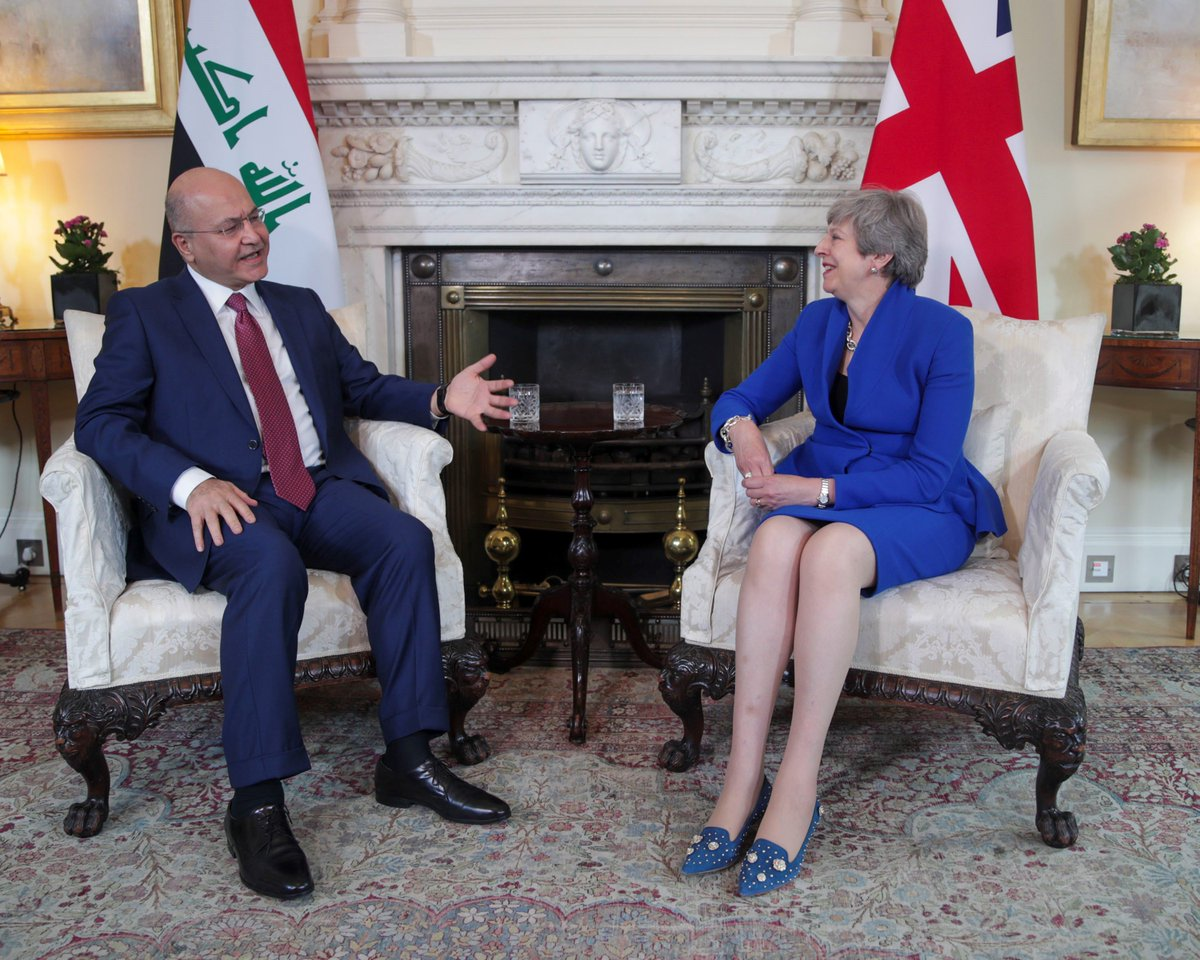 PM @Theresa_May met Iraqi President @BarhamSalih in Downing Street this afternoon. They discussed security cooperation between our countries and the PM welcomed opportunities to expand on trade.   https://www.gov.uk/government/news/pms-meeting-with-the-president-of-iraq-25-june-2019 …