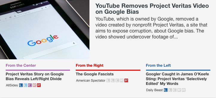 YouTube Removes Project Veritas Video on Google Bias: http://bit.ly/2X5Wiql  coverage via @The @amspectator, @thedailybeast and AllSides. #googlebias #Google #mediabias