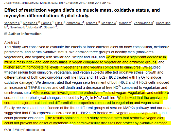 """Plant based diets are more protective against disease then diets with meat in it""  NOPE.   Pilot study finds vegans had less muscle mass and both vegans and vegetarians have higher homo-cysteine levels (which is a marker for chronic disease risk)   https://www. ncbi.nlm.nih.gov/pubmed/29319158     <br>http://pic.twitter.com/5vjVuEX2WH"