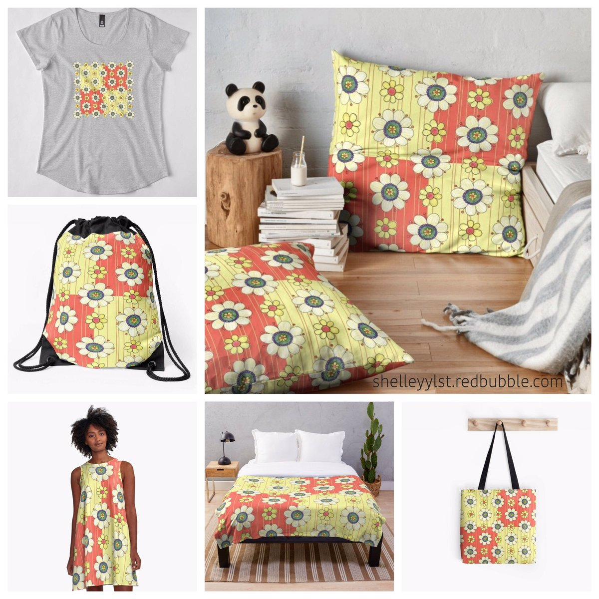 A cheerful and summery design in to add some brightness to your life! See all the fun products you can get it printed on in my Redbubble Shop here 👉 https://rdbl.co/31W97XR http://shelleyylstart.redbubble.com #flowers  #decor #tshirt  #dress #pillow #floorpillow #blanket #bedding #totebag