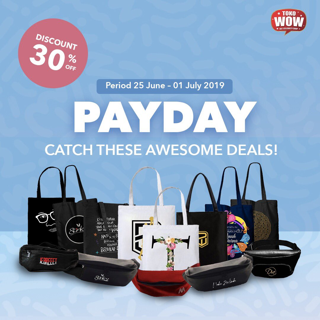 This season's Payday!  So, get ready to all items Disc. 30% off.  Find more your favorite item. Tap to shop now! https://www.instagram.com/p/BzHlsbHA-7U/?igshid=1p78wn6hg2r4l…  #Payday #PromoPayday #Tokowow #no1celebrityshop #Sale #Waistbag #Totebag  #fashionaddict #trending #trendy #fashionblogger