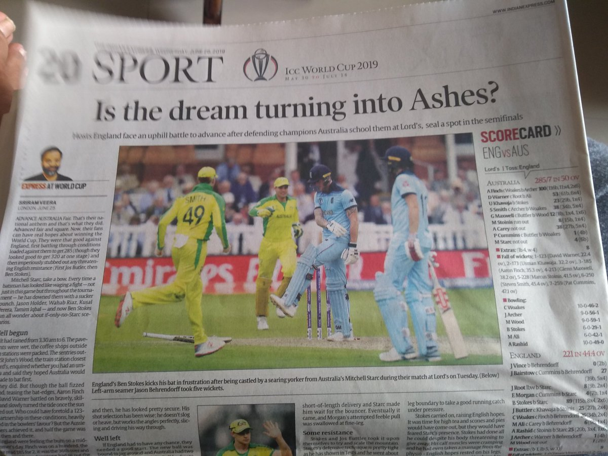 Another day, another match and another great headline by @IndianExpress. #CWC19 #ENGvAUS #Eng #AUS #EoinMorgan #AaronFinch