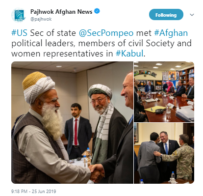 #US Sec of state @SecPompeo met #Afghan political leaders, members of civil Society and women representatives in #Kabul.