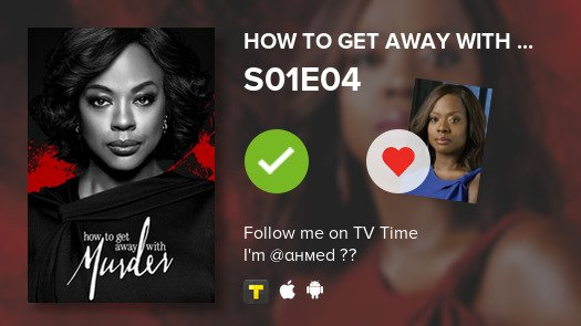 I've just watched episode S01E04 of How to Get Away ...! #HTGAWM  #tvtime  https:// tvtime.com/r/15ffY    <br>http://pic.twitter.com/K9Roi72ltc