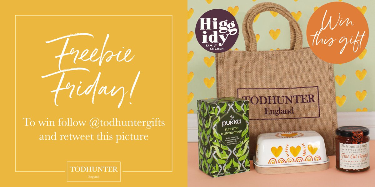 FREEBIE FRIDAY! In celebration of our new collaboration with @higgidy we are giving away a #freebiefriday Todhunter gift, which includes Higgidy's new butter dish! To #win follow @TodhunterGifts & #RT #giveaway #fridayfeeling #free #FathersDay  #friyay #gift #competition #freebie<br>http://pic.twitter.com/46Ea6ZuDtQ