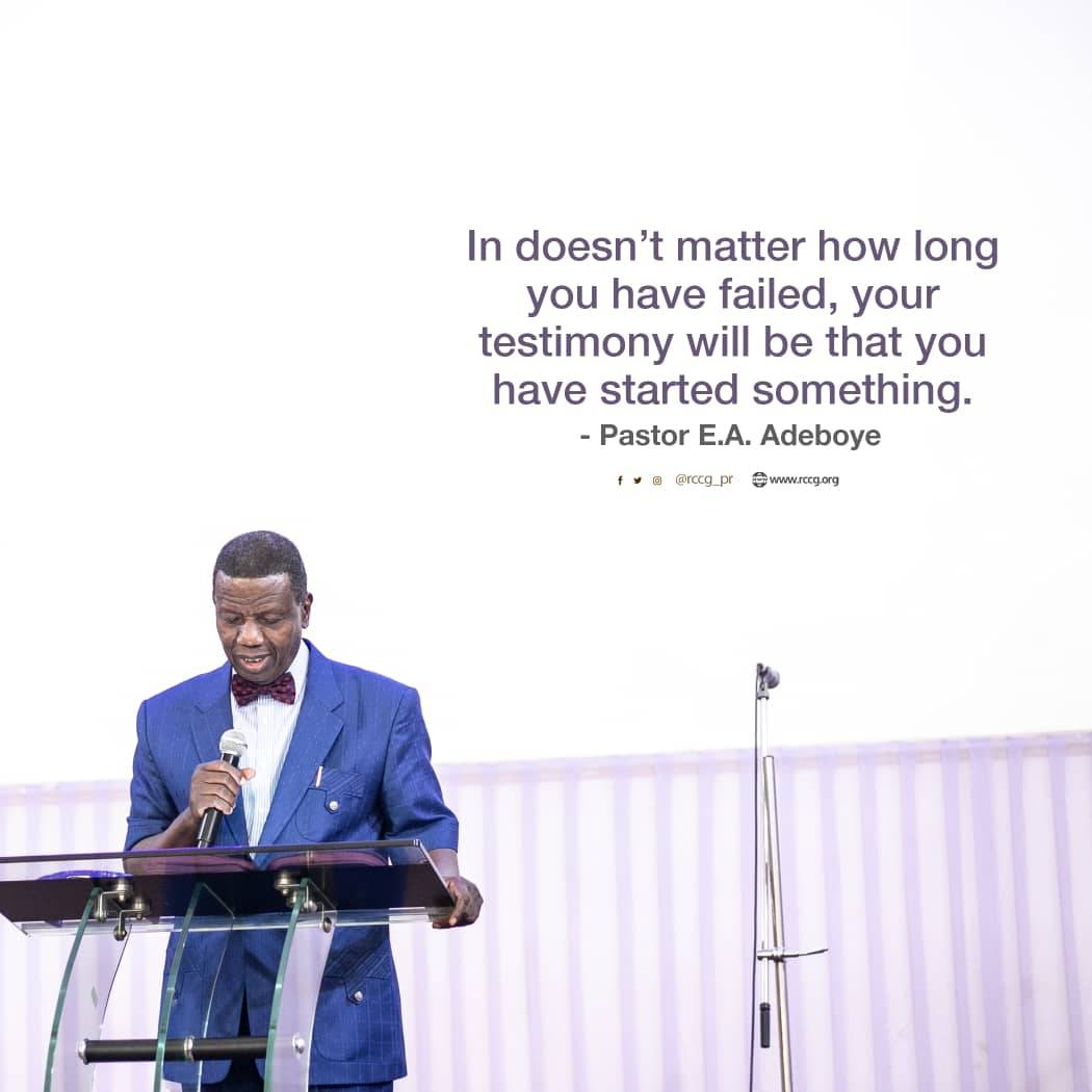 It doesn't matter how long you have failed, your testimony will be that you have started succeeding at something in Jesus Name.   - Pastor E. A. Adeboye   #FridayMotivation <br>http://pic.twitter.com/4W3AZu6Jng
