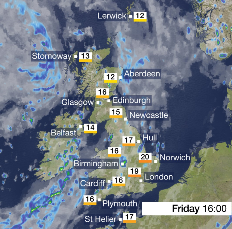 You might struggle to find that #FirdayFeeling on a gloomy, very wet  start to the day but hopefully you'll start feeling it later.Rain clearing to sunny spells (and showers) and a bit warmer than recently...