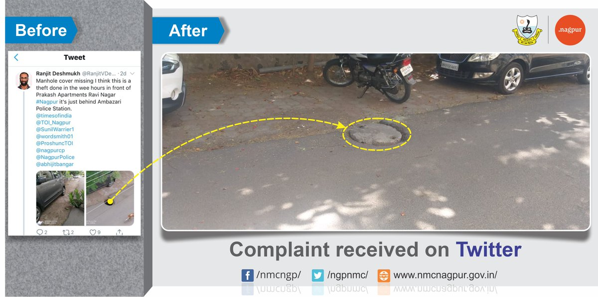 Your complaints are getting heard. We are here for you. Write to us with your issues at http://nmcnagpur.gov.in/    or on our social media accounts. Do not forget to send us your exact address and contact information for us to address your issues and we assure you we will fix it.