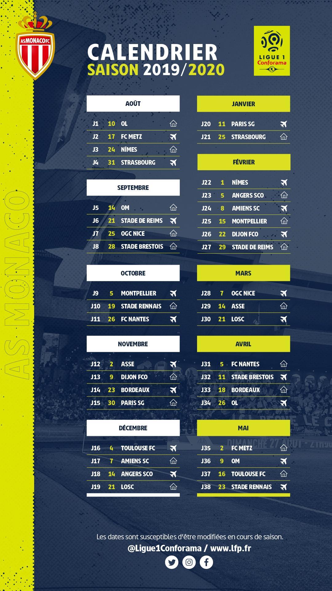 Calendrier Top 14 Saison 2020 2019.Ligue 1 Le Calendrier 2019 2020 Int Gral De L Asm