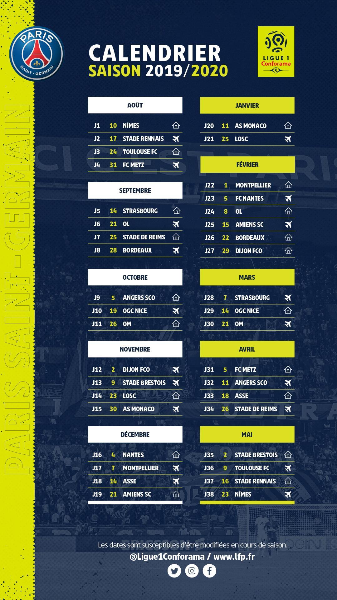 Copa America Calendrier.Le Calendrier 2019 2020 Integral Du Psg