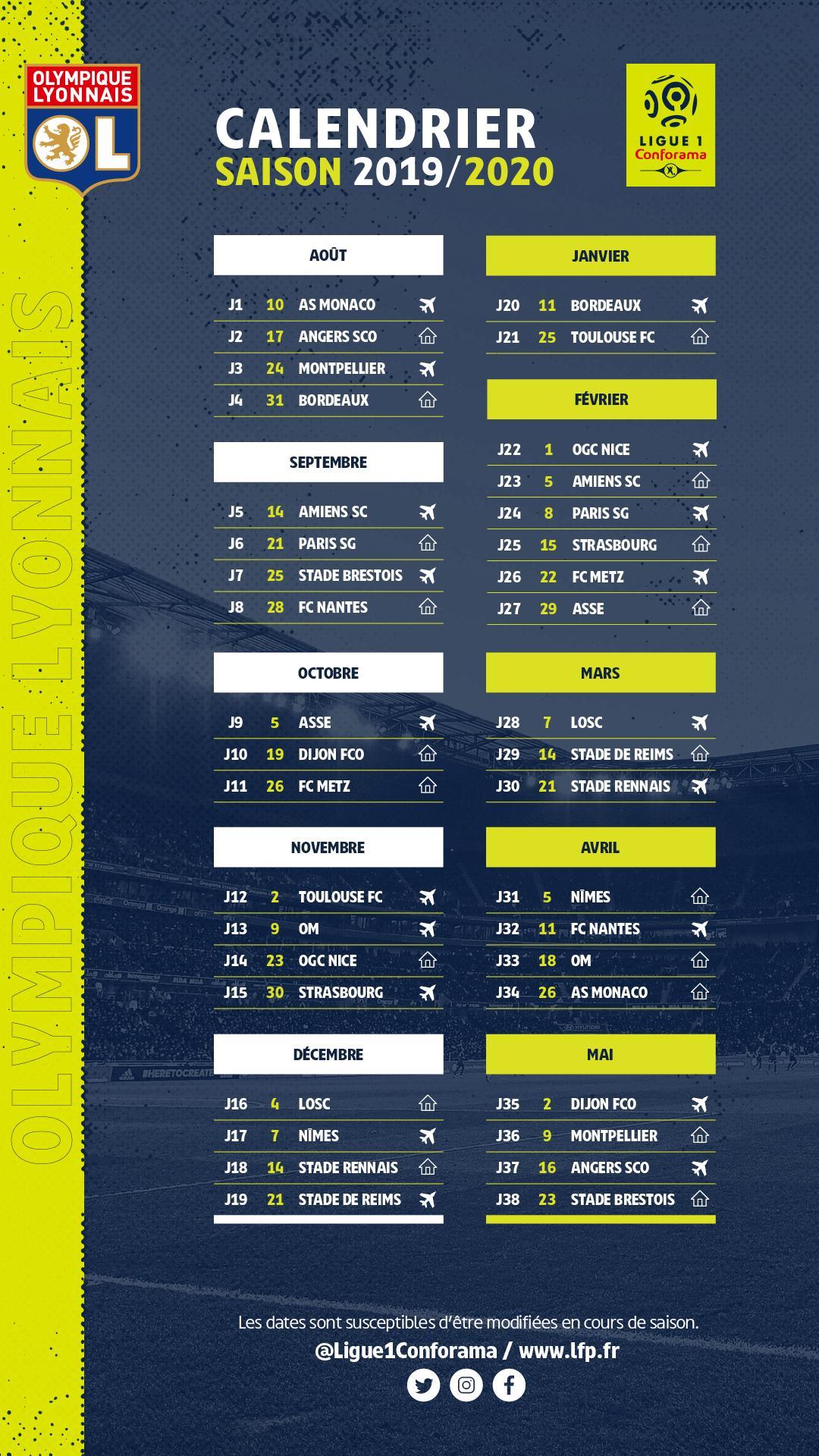 Calendrier Fifa Coupe Du Monde 2020.Le Calendrier 2019 2020 Integral De L Ol