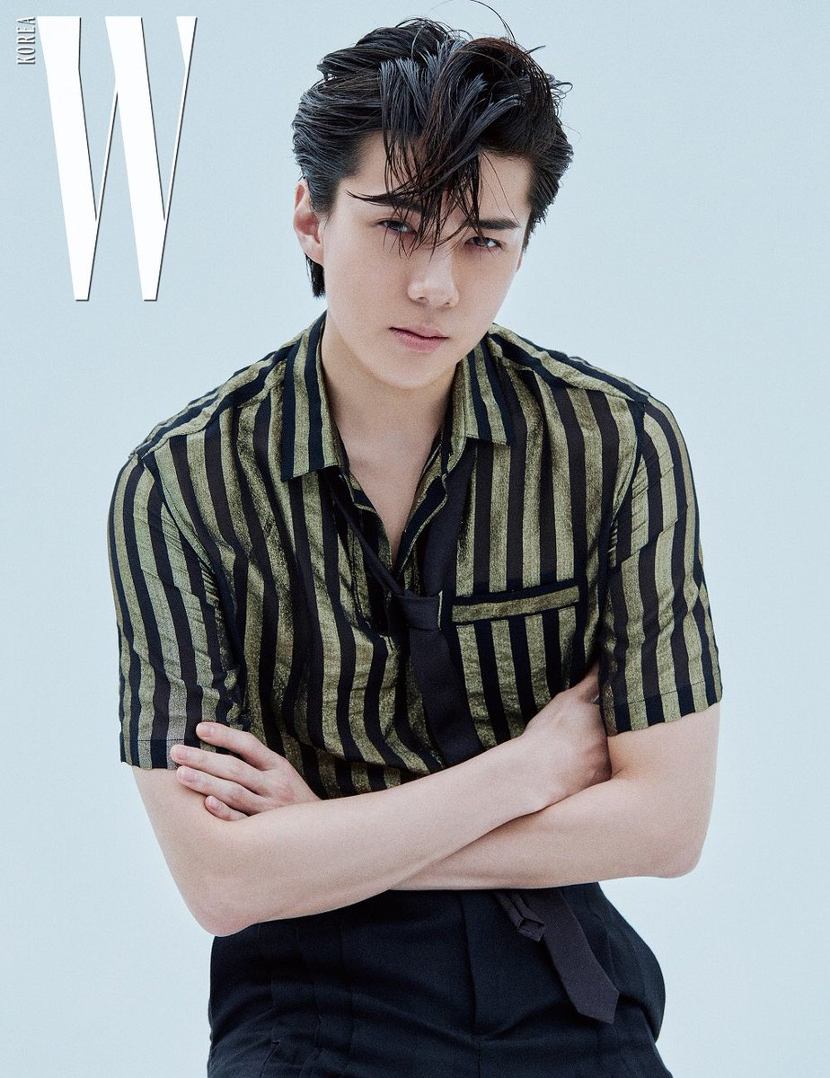 Sehun in Saint Laurent (@YSL) Golden Black Silk Polo Shirt With Lamé Stripes - W Korea July Issue Pictorial  Price: $990  #SEHUN #세훈 #吴世勋 #whatsehunwears<br>http://pic.twitter.com/aBbTQr1Exl