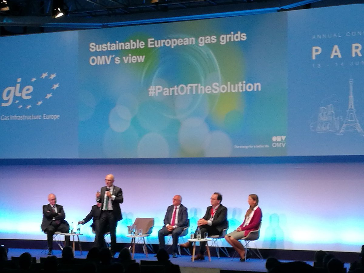 #gas in all its forms is #PartOfTheSolution today, tomorrow and by 2050, next to electrolysis & steam #methane reforming, #Pyrolysis emerges as an efficient solution - energetic speech by M. Woltran @omv #GIEParis2019