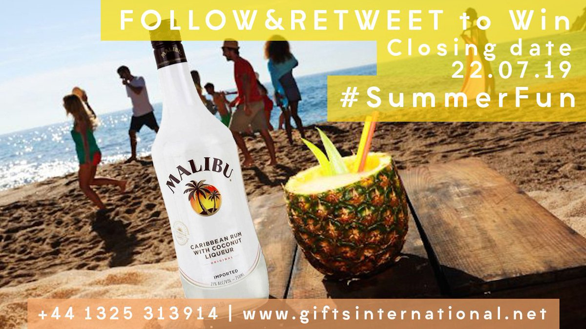 To bring some sunshine back  Here is our #summerfun #giveaway To be in with a chance to #win simply FOLLOW and RETWEET Closes midnight 22/07/19 UK res, over 18's only. T&C's apply  https://www. giftsinternational.net/products/malib u-rum/2975  …  #Makingmemories #FridayMotivation #FridayFeeling<br>http://pic.twitter.com/pSDsk4maBT