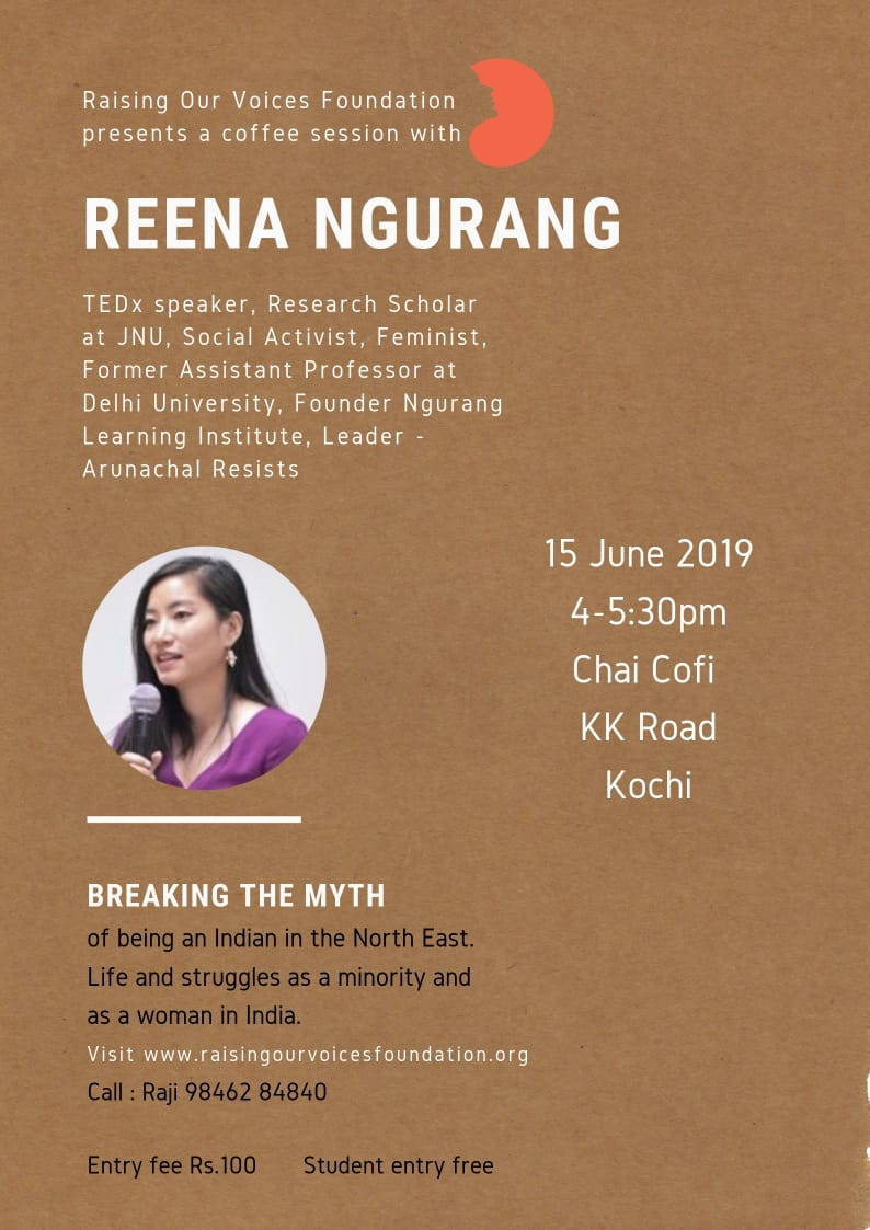 Friends in Kochi come by, let's discuss the issues of minority-from India's North-East but most importantly let's discuss the issues of women in the region.  Thank you Raise Our Voices Foundation for the support here in a new land.  #communities #WomensRightsAreHumanRights #rov<br>http://pic.twitter.com/DedTdGOepB