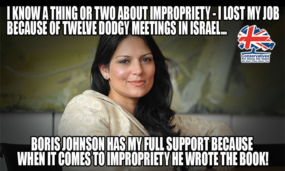 Priti Patel lost her job in gvmnt because she made a choice to engage with a foreign power in unrecorded meetings - some call it treason. Patel has chosen to support Boris Johnson to be PM, she claims he is a champion of women's rights & equality! Are we in an alternate reality?