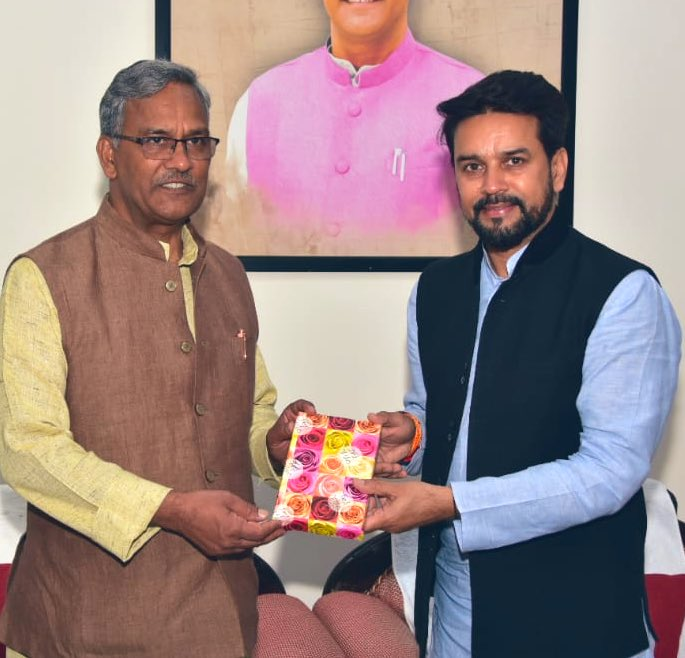 I had a fruitful meeting with CM Uttarakhand Sh @tsrawatbjp, we discussed a number of issues and I wish him the very best in all his initiatives to transform the state. The state has immense potential under his leadership!