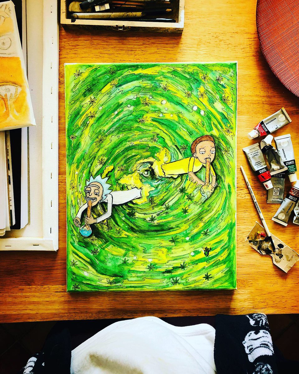 """Had fun painting this portal   rick and morty    A3 • 18""""x 12""""  <br>http://pic.twitter.com/2B74GfdFgL"""
