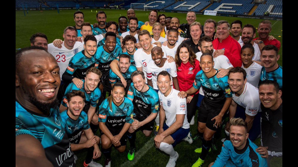 Can't wait to get on the pitch at Stamford Bridge on Sunday with this lot! #SoccerAid #soccerAid19 @UNICEF @ITV