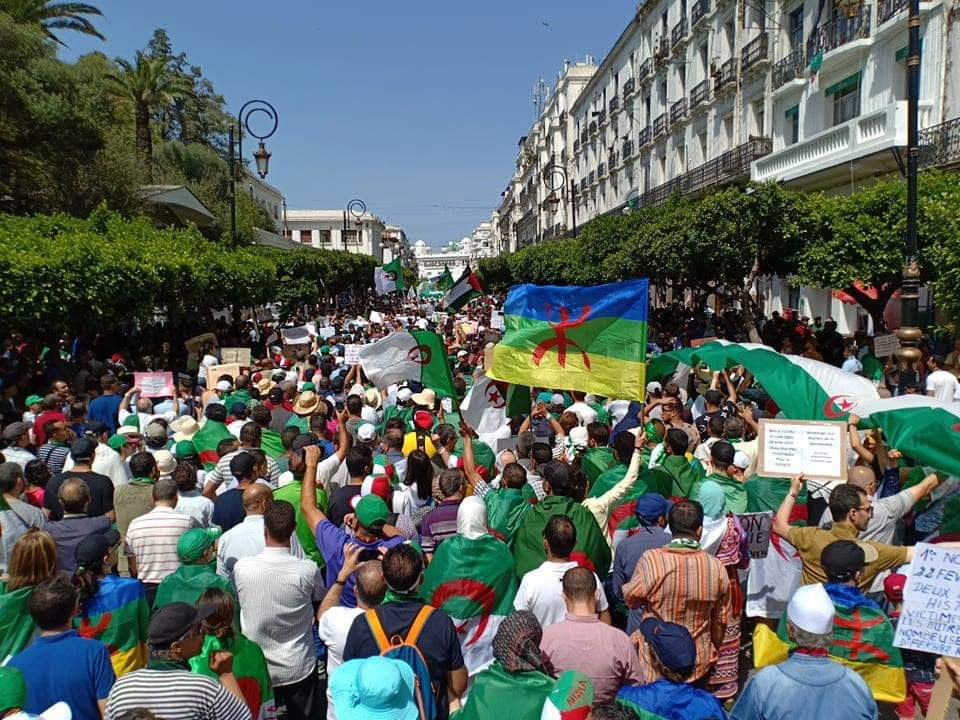 #Algeria 🇩🇿: thousands of protesters rallied in the capital #Algiers, carrying Algerian, Palestinian and Amazigh flags as they call for freedom and democracy