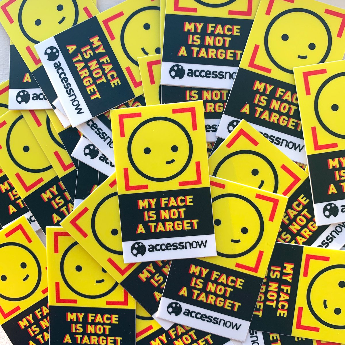#RightsCon reminder. Facial recognition and (digital identity in general) are very dangerous tech. Passwords can be changed but faces and fingerprints CAN'T. We need to talk about this.Also, don't take pics of others' faces without consent. Also, I designed this sticker 🙃