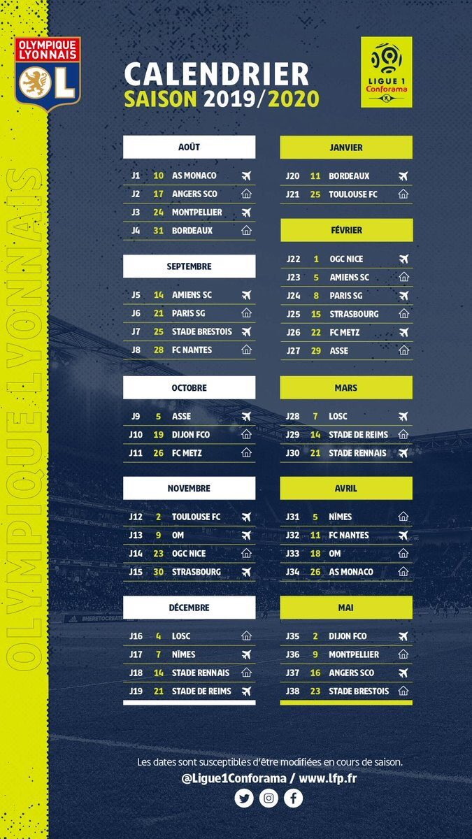 Calendrier Ligue 1 2019/2020   Forums OL.fr