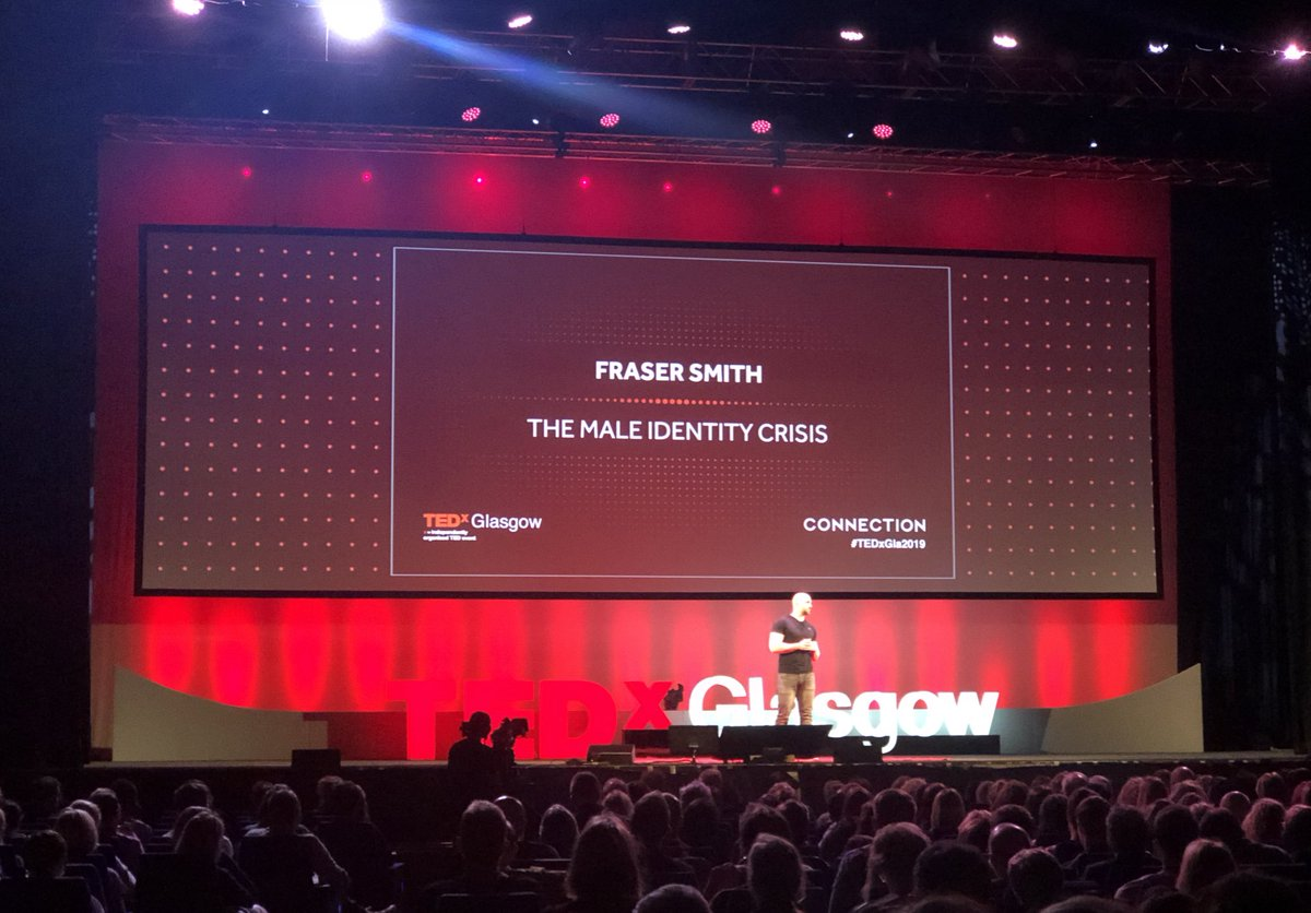 """A hush falls on #TEDxGla2019 as @FSmithCPsy discusses the horrible truth of male suicide statistics and the struggle to understand what """"being a man"""" means. <br>http://pic.twitter.com/yde6oymHg8"""