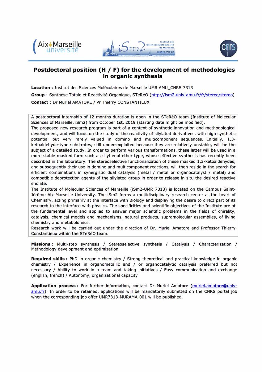 A postodctoral position is available at iSm2 in Marseille, France <br>http://pic.twitter.com/3uR1JyUWhK