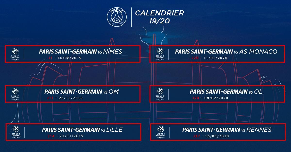 Calendrier L1 Psg.Paris Saint Germain בטוויטר Le Calendrier De La