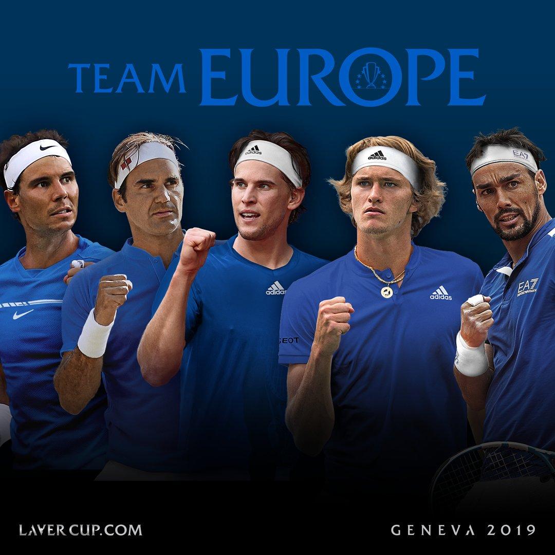 #TeamEurope takes shape: @ThiemDomi, Alexander Zverev and @FabioFognajoin @RafaelNadal and @RogerFederer in Geneva. #LaverCup