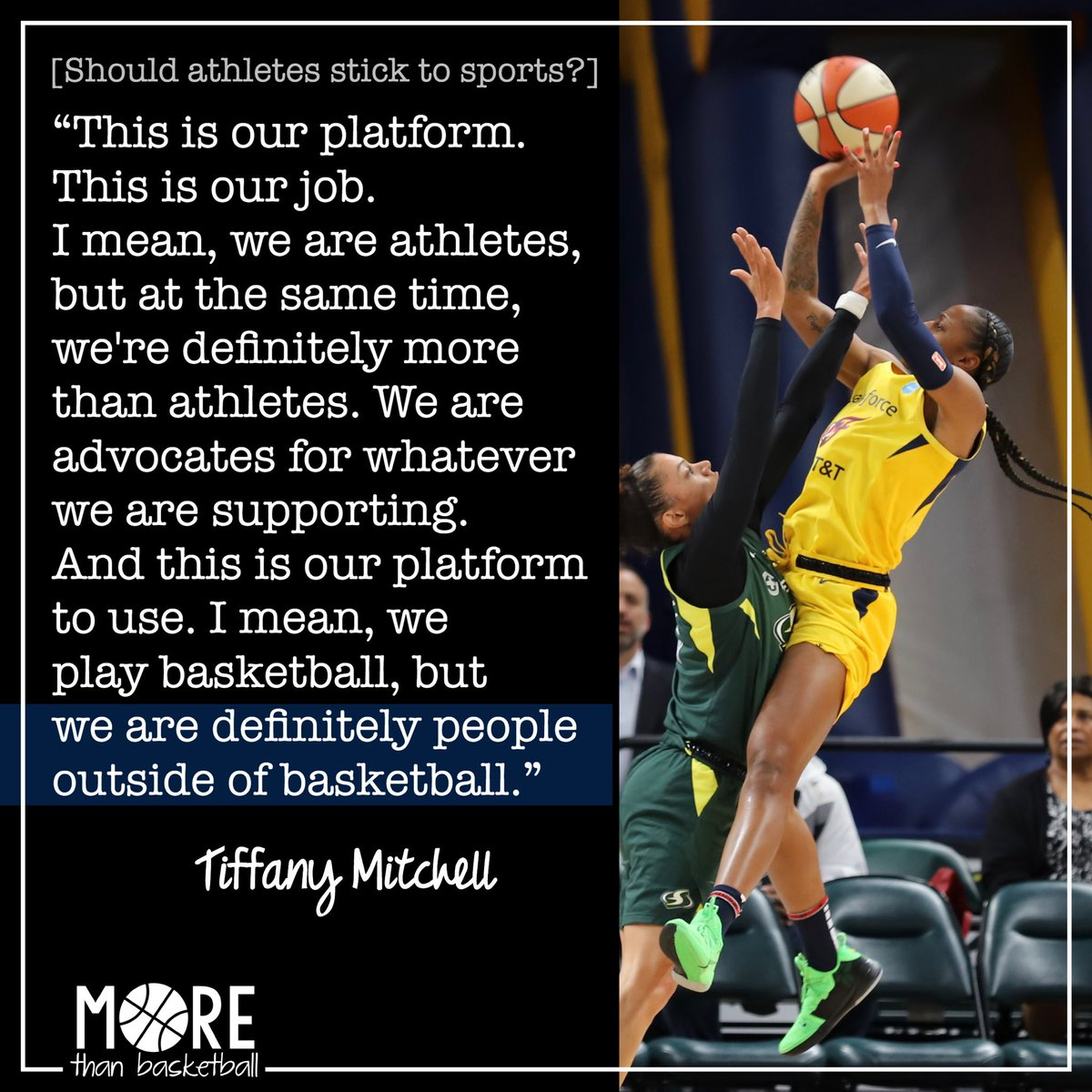 """Athletes are speaking up on important issues - as fellow citizens, as humans. @tiffmitch25 on why athletes shouldn't """"stick to sports."""" . #wnba #fever20 #indianafever"""
