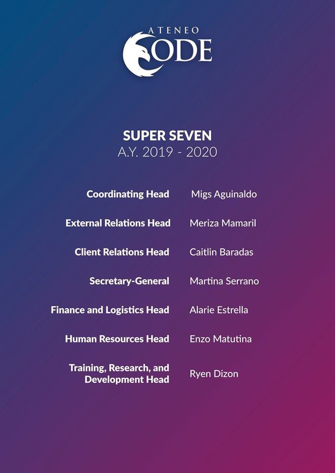 Presenting Ateneo CODE's Super Seven (Executive Board) for S.Y. 2019 - 2020!   All concerns and inquiries may also now be directed to CODE's new contact persons for the year. Wishing these people the best as they work to bring this organization to greater heights! https://t.co/f1MGy0ehrf