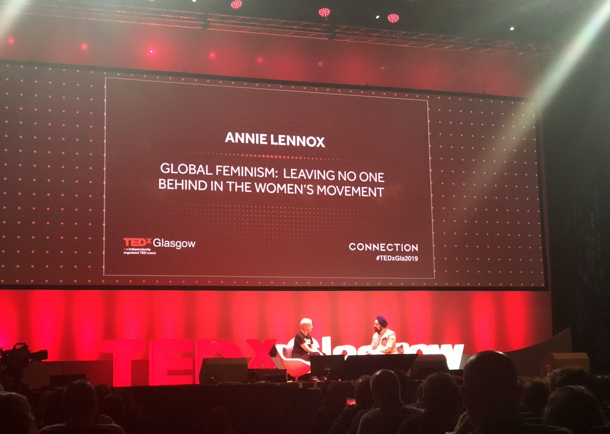 First up in the afternoon session at #TEDxGla2019 is the one and only @AnnieLennox talking #GlobalFeminism and how although improvement has been made, we still have a long way to go globally until equality is reached. <br>http://pic.twitter.com/Dnp44QxUBf