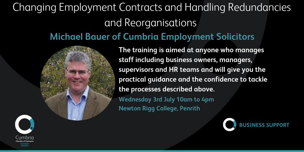 test Twitter Media - Changing Employment Contracts and Handling Redundancies and Reorganisations – workshop with Michael Bauer of Cumbria Employment Solicitors, Penrith, Wednesday 3rd July, 10:00 am - 4:00 pm. More details and booking at https://t.co/Ak90D7EFs8 https://t.co/qJ5FpS9OU3