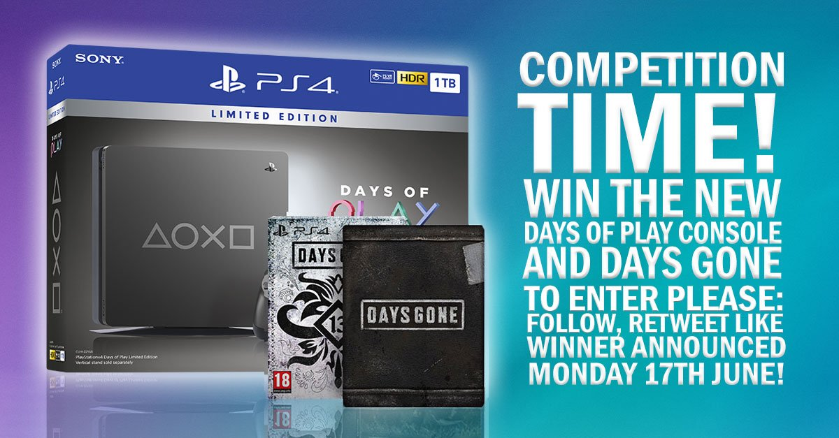 *COMPETITION TIME*Want to win a PlayStation 4 Limited Edition 1TB Days of Play Console and a copy of Days Gone Special Edition? To enter please Follow, Retweet and Like and the lucky winner will be announced on Monday 17th June! Happy Friday and good luck everyone 👍😁